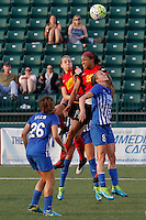 Rochester, NY - Friday May 27, 2016: Western New York Flash forward Jessica McDonald (14) and defender Alanna Kennedy (8) go up for a header with Boston Breakers defender Julie King (8) as  Boston Breakers midfielder Angela Salem (26) watches. The Western New York Flash defeated the Boston Breakers 4-0 during a regular season National Women's Soccer League (NWSL) match at Rochester Rhinos Stadium.