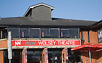 New Wolsey theatre sign and frontage, Ipswich, Suffolk, England
