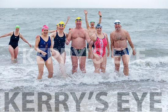 Morna O'Halloran, Mags O'Sullivan, Kevin Williams, Elaine Burrows Dillane and Gerard McDonald take the plunge in Fenit on Saturday morning.