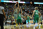 03 APR 2012: Brittney Griner (42) of Baylor University goes up for a shot against Markisha Wright (34) of the University of Notre Dame during the Division I Women's Basketball Championship held at the Pepsi Center in Denver, CO. Stephen Nowland/NCAA Photos