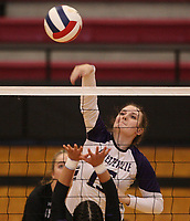 Arkansas Democrat-Gazette/STATON BREIDENTHAL --10/29/19-- Fayetteville's Amelia Whatley hits the ball Tuesday during their game against Mount St. Mary Academy in the 6A state Volleyball Tournament in Cabot. See more photos at arkansasonline.com/1030volleyball6A/.