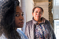 Isabel Lopez, 50, of Hyde Park, Boston, Massachusetts, (right) and Carlha Toussaint, 24, of Brockton, Massachusetts, are community organizers in the Brockton, Massachusetts, USA. Lopez, an immigrant from Honduras, is an independent community organizer who has worked with various organizations in the Brockton, Massachusetts, area for the past 8 years. Toussaint, an immigrant from Haiti, is an organizer with the Coalition for Social Justice. They are seen here in Jamaica Plain, Boston, Massachusetts.