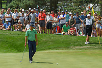 Justin Thomas (USA) barely misses his birdie attempt on 3 during 4th round of the World Golf Championships - Bridgestone Invitational, at the Firestone Country Club, Akron, Ohio. 8/5/2018.<br /> Picture: Golffile | Ken Murray<br /> <br /> <br /> All photo usage must carry mandatory copyright credit (© Golffile | Ken Murray)