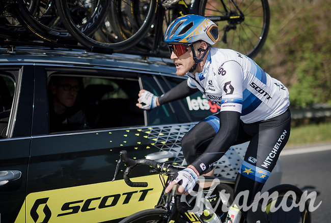 Matteo TRENTIN (ITA/Mitchelton-Scott) checking/repairing his handlebars angle on-the-move<br /> <br /> 110th Milano-Sanremo 2019 (ITA)<br /> One day race from Milano to Sanremo (291km)<br /> <br /> ©kramon
