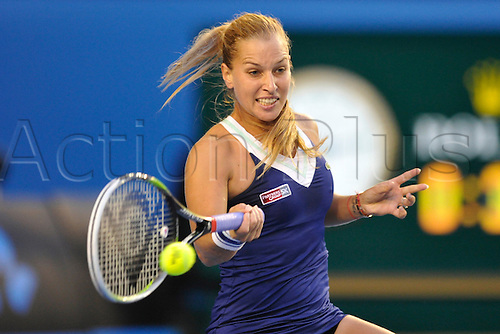 25.01.2014 Melbourne, Australia. Dominika Cibulkova of Slovakia plays in the womens final versus Li Na (CHN) in the womens final on day thirteenth of the Australian Open from Melbourne Park. Li Na powered to the title by a score of 7-6 (7-3) 6-0. .
