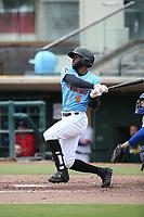 Torii Hunter jr. (4) of the Inland Empire 66ers bats against the Stockton Ports at San Manuel Stadium on May 26, 2019 in San Bernardino, California. (Larry Goren/Four Seam Images)