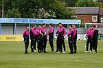 Jersey players inspect the pitch. Yorkshire v Parishes of Jersey, CONIFA Heritage Cup, Ingfield Stadium, Ossett. Yorkshire's first competitive game. The Yorkshire International Football Association was formed in 2017 and accepted by CONIFA in 2018. Their first competative fixture saw them host Parishes of Jersey in the Heritage Cup at Ingfield stadium in Ossett. Yorkshire won 1-0 with a 93 minute goal in front of 521 people. Photo by Paul Thompson