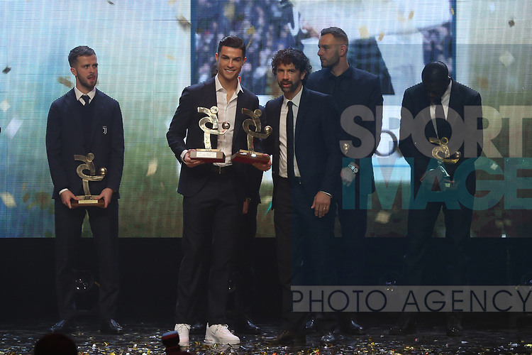 Cristiano Ronaldo of Juventus is receives his Player of the Year award for 2019 from Damiano Tommasi during the The Italian Footballers Association Grand Gala of Football at the Megawatt Court, Milan. Picture date: 2nd December 2019. Picture credit should read: Jonathan Moscrop/Sportimage