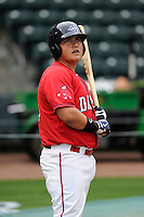First baseman Francisco Tellez (19) of the Greenville Drive during a Media Day first workout of the season on Tuesday, April 7, 2015, at Fluor Field at the West End in Greenville, South Carolina. (Tom Priddy/Four Seam Images)