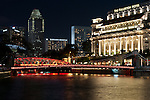 Singapore Fullerton Hotel At Night - The Fullerton Hotel at night, Boat Quay, Singapore