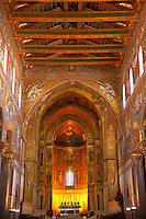 Main Isle and altar wioth Byzantine mosaics  in the Cathedral of Monreale - Palermo - Sicily Pictures, photos, images & fotos photography