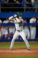 Siena Saints pinch hitter Dan Lowndes (8) at bat during a game against the Florida Gators on February 16, 2018 at Alfred A. McKethan Stadium in Gainesville, Florida.  Florida defeated Siena 7-1.  (Mike Janes/Four Seam Images)