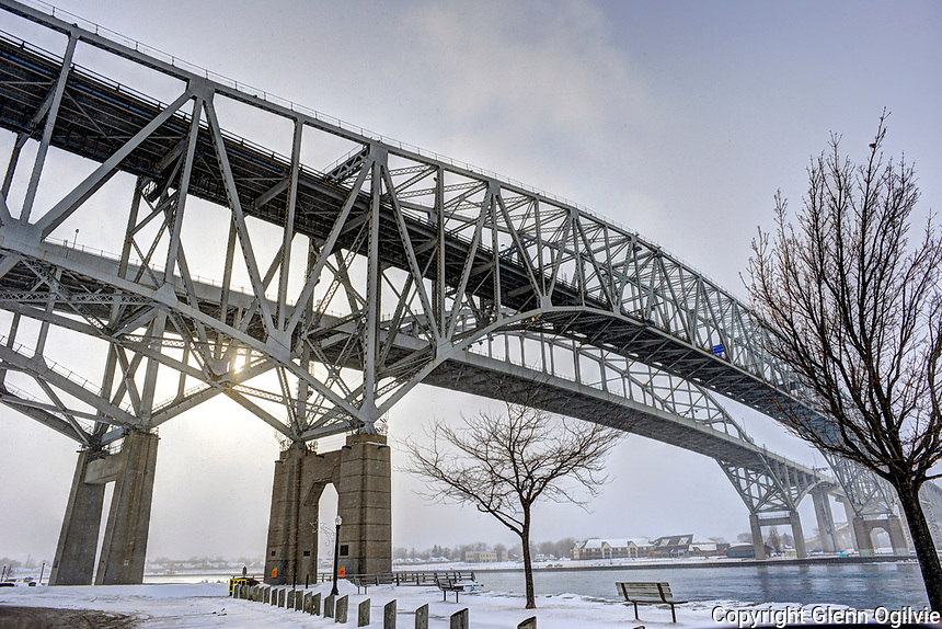 Winter Blue Water Bridges span the St. Clair River joining Point Edward, Ontario to Port Huron, Michigan.