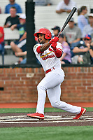 Johnson City Cardinals Liam Sabino (11) swings at a pitch during a game against the Kingsport Mets at TVA Credit Union Ballpark on June 28, 2019 in Johnson City, Tennessee. The Cardinals defeated the Mets 7-4. (Tony Farlow/Four Seam Images)