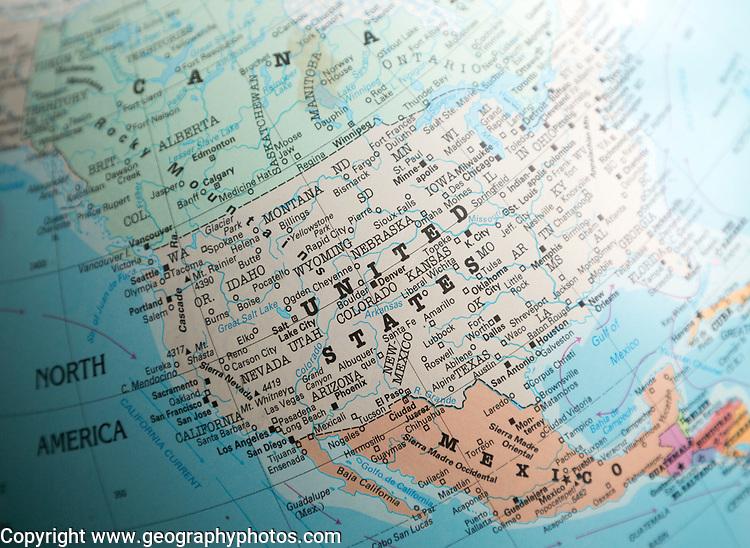 North America map on a globe focused on United States