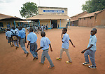 Students line up to enter class at the John Paul II School in Wau, South Sudan.