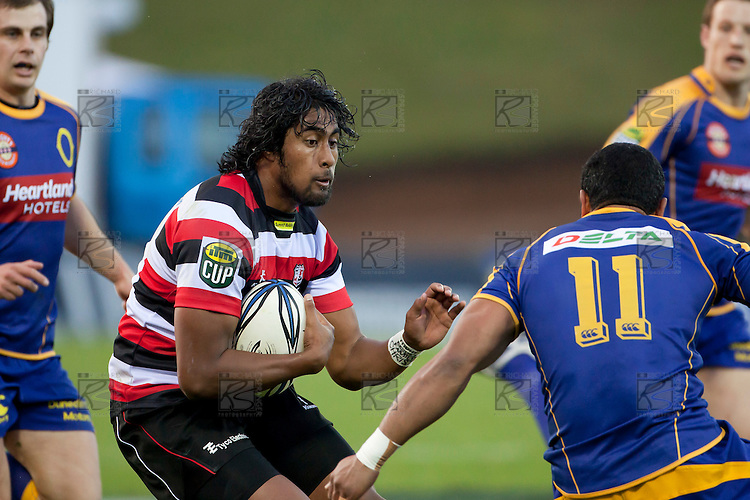 Ahsee Tuala braces for the tackle by Fetuú Vainikolo. ITM Cup Round 1 game between the Counties Manukau Steelers and Otago, played at Bayer Growers Stadium, Pukekohe, on Saturday July 31st 2010. Counties Manukau Steelers won 29 - 13 after leading 22 - 6 at halftime.