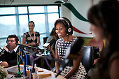 First Lady Michelle Obama does an interview on the talk show Piolin, which has one of the largest Spanish speaking audiences in radio, in Glendale, California, Wednesday, October 27, 2010. .Mandatory Credit: Lawrence Jackson - White House via CNP
