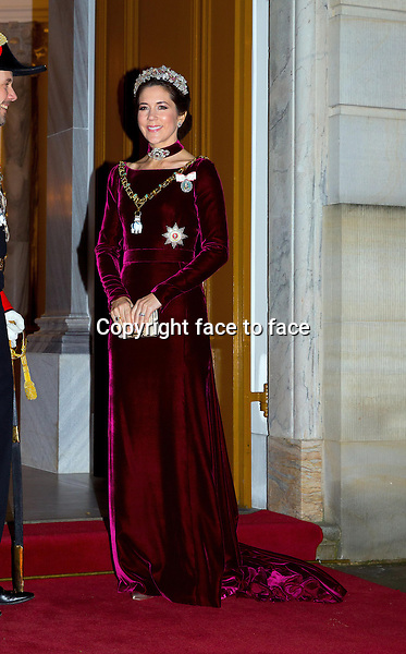 01-01-2014 Amalienborg Princess Mary at the New Years reception at Amalienborg in Copenhagen.<br /> Credit: Nieboer/PPE/face to face<br /> - No Rights for Netherlands -