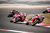 June 11th 2017, Barcelona Circuit, Montmelo, Catalunya, Spain; MotoGP Grand Prix of Catalunya, Race Day; Dani Pedrosa of the Repsol Honda Motogp Team leads Marc Marquez of the Repsol Honda Motogp Team during the Motogp race