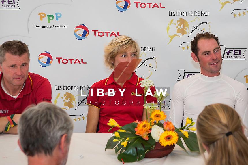 CCI4* CROSS COUNTRY PRESS CONFERENCE: 1) GER-Ingrid Klimke (HORSEWARE HALE BOB); 2) IRL-Joseph Murphy (ELECTRIC CRUISE); 3) Andreas Dibowski (FRH BUTTS AVEDON): 2014 FRA-Les Etoiles de Pau (Saturday 25 October) CREDIT: Libby Law COPYRIGHT: LIBBY LAW PHOTOGRAPHY - NZL