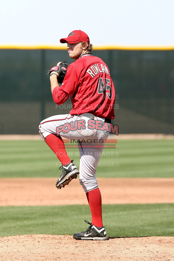 Robby Rowland #45 of the Arizona Diamondbacks participates in spring training workouts at the Diamondbacks minor league complex on March 13, 2011  in Scottsdale, Arizona. .Photo by:  Bill Mitchell/Four Seam Images.