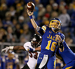 BROOKINGS, SD - OCTOBER 11:  Zach Lujan #16 from South Dakota State passes the ball to the end zone against Missouri State in the first half of their game Saturday evening at Coughlin Alumni Stadium in Brookings. (Photo/Dave Eggen/Inertia)