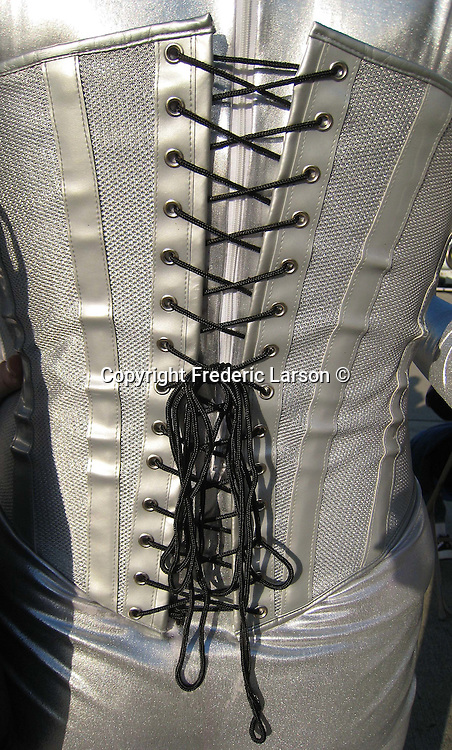 Many islets and laces on our corset from a costume at Yuri's night in Santa Clara, California.