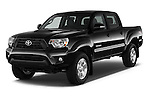 2015 Toyota Tacoma PreRunner 4 Door Pick up Angular Front stock photos of front three quarter view