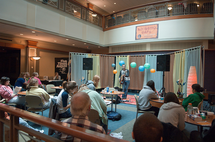 """18558Acoustic Café In Baker Center..Brad Skistimas from  """"Five Times August"""", Dallas, TX performing."""