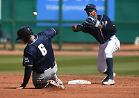 NWA Democrat-Gazette/J.T. WAMPLER Naturals' second baseman Erick Mejia makes the throw to first base after catching San Antonio's Kyle Overstreet Tuesday April 10, 2018 at Arvest Ballpark in Springdale. The Naturals won 4-0.