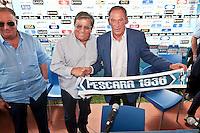 Presentazione alla stampa del nuovo allenatore del Pescara calcio Zdenek Zeman.<br /> The presentation to the press the new coach of Pescara soccer Zdenek Zeman.<br /> Foto &copy; DiLoreto