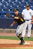 Bradenton Marauders first baseman Will Craig (22) waits for a throw during the first game of a doubleheader against the Tampa Yankees on April 13, 2017 at George M. Steinbrenner Field in Tampa, Florida.  Bradenton defeated Tampa 4-1.  (Mike Janes/Four Seam Images)