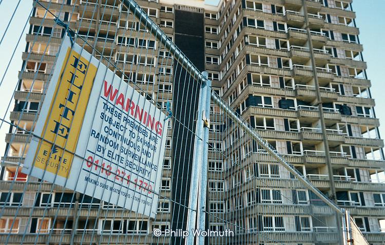 Empty tower block on Norfolk Park Estate, Sheffield, awaiting demolition.