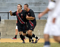 Berkeley, CA - November 11th, 2011: Garrett Gunther of Stanford celebrates after scoring a goal during a soccer game against California.  Stanford won, 3-0.
