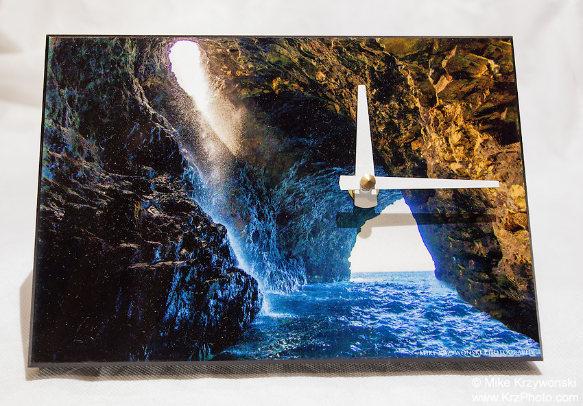KAUAI SEA CAVE CLOCK $40<br /> With an attachable stand, it can be used as a desk or wall clock. Requires one AA battery. 5.5&quot; x 8&quot; x .75&quot;<br /> Contact me to order.
