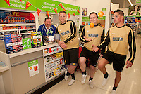 Footballers from The White Swan FC popped into the Pharmacy at ASDA Newark to try out their new free blood pressure testing service. Pictured from left are Dispensing Assistant Sam Maxwell Peter Culpin, Alvin Sheldon and Ashley Dearlove