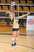 17 November 2011:  FIU outside hitter Marija Prsa (10) serves in the third set as the FIU Golden Panthers defeated the Denver University Pioneers, 3-1 (25-21, 23-25, 25-21, 25-18), in the first round of the Sun Belt Conference Tournament at U.S Century Bank Arena in Miami, Florida.