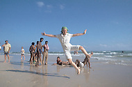 June, 1977. Havana, Cuba. Eighteen years after the Cuban Revolution the first U.S. tourists were permitted to visit Havana. American tourists on the beach of Santa Maria de la Mare.