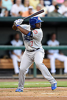 Chattanooga Lookouts first baseman O'Koyea Dickson (7) at bat during game three of the Southern League Championship Series against the Jacksonville Suns on September 12, 2014 at Bragan Field in Jacksonville, Florida.  Jacksonville defeated Chattanooga 6-1 to sweep three games to none.  (Mike Janes/Four Seam Images)