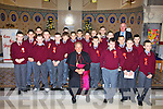Lixnaw Boy's National School pupils William O'Connor, Joe O'Connell, Aaron Rid, Darragh Shanahan, Kevin McElligott, John Buckley, Kenneth O'Connor, Aidan McMahon, David Silles, Sea?n Flanagan, Liam Mullins, Andrew Hickey, Damien O'Regan, Thomas Quinlan, William Costello, Jason Keane, Gerard Stackpoole, Tom Foley, Jeremy McKenna, David Quilter and Colin Sheehy, pictured with Bishop Bill Murphy and their teacher John McAuliffe, after their confirmation in St Michael's Church, Lixnaw on Monday.