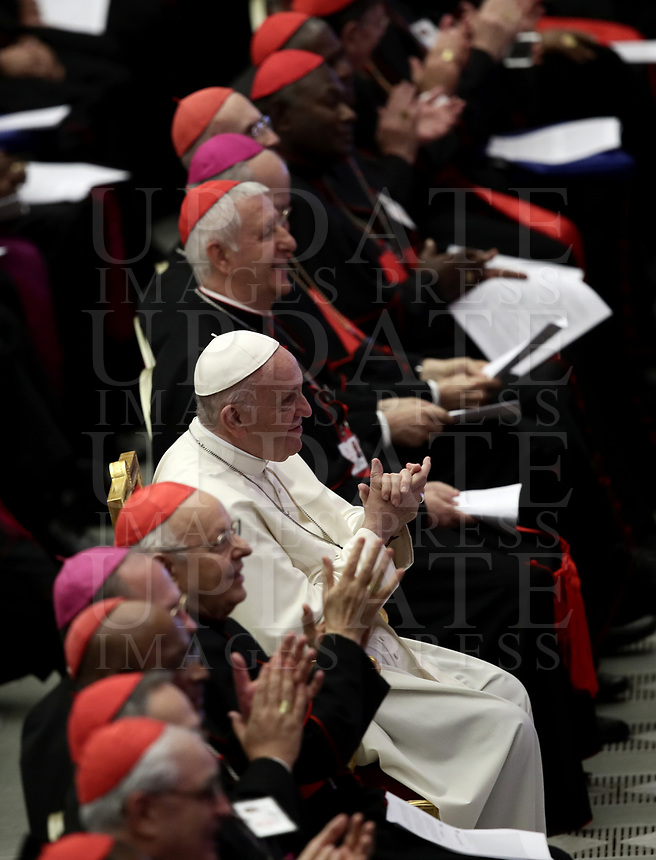 Pope Francis watches a performance during a meeting with the youth and the Synod Fathers in the Paul VI Hall at the Vatican, on October 6, 2018. <br /> UPDATE IMAGES PRESS/Isabella Bonotto<br /> <br /> STRICTLY ONLY FOR EDITORIAL USE