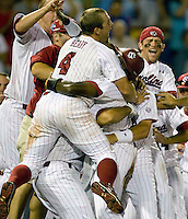 South Carolina's Robert Beary celebrates the Gamecocks walk-off win in Game 10 of the NCAA Division One Men's College World Series on June 24th, 2010 at Johnny Rosenblatt Stadium in Omaha, Nebraska.  (Photo by Andrew Woolley / Four Seam Images)
