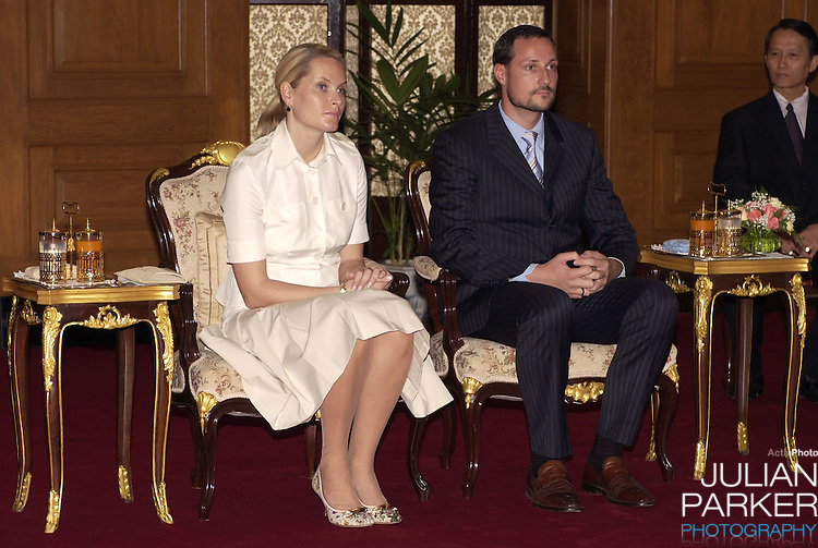 Crown Prince Haakon & Crown Princess Mette-Marit of Norway's visit to Thailand..Visit to an exhibition of Population & Community Development Association in the compound of the Grand Palace..