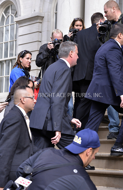 WWW.ACEPIXS.COM<br /> <br /> <br /> November 6th, 2013, New York City, NY.<br /> <br /> Mayor-elect of New York City, Bill de Blasio arriving at a meeting his predecessor Michael Bloomberg on November 6th, 2013 in New York City. NY.<br /> <br /> <br /> <br /> <br /> By Line: Curtis Means/ACE Pictures<br /> <br /> ACE Pictures, Inc<br /> Tel: 646 769 0430<br /> Email: info@acepixs.com