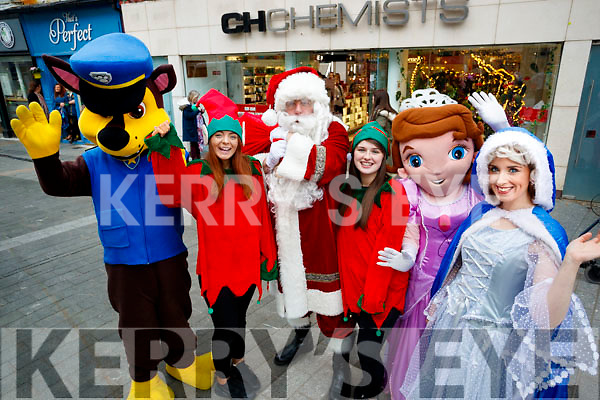 Paw Patrol, Elf Cathy Hughes, Santa, Elf Sophie O'Sullivan, Sophia the first and Fairy Sparkle, at the Launch of the CH Chemist Christmas Parade.