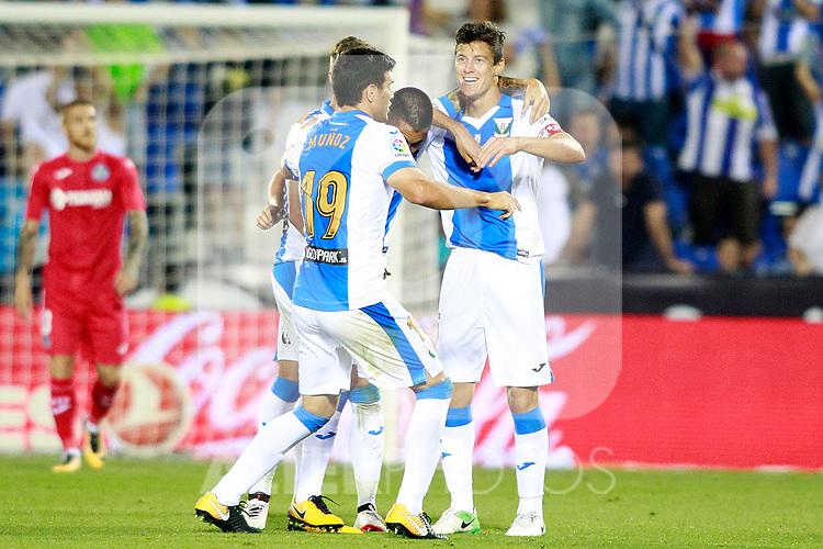 CD Leganes' Ruben Perez, Miguel Angel Guerrero, Martin Mantovani and Ezequiel Matias Munoz celebrate goal during La Liga match. September 8,2017. (ALTERPHOTOS/Acero)