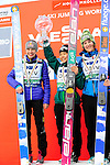 HOLMENKOLLEN, OSLO, NORWAY - March 17: Winners podium of the FIS Ski Jumping World Cup Ladies Overall for the season 2012/2013 at the FIS Ski Jumping World Cup on March 17, 2013 in Oslo, Norway. (C) Winner Sara Takanashi of Japan (JPN), (L) 2nd place Sarah Hendrickson of USA and (R) 3rd place Coline Mattel of France (FRA). (Photo by Dirk Markgraf)