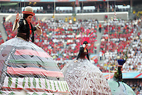 JUNE 9, 2006: Munich, Germany: Entertainers in large floating costumes were raised high off the field during the opening ceremonies for the World Cup Finals in Munich, Germany.