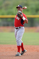 Boston Red Sox minor league second baseman Rafael Oliveras (16) during an extended spring training game against the Tampa Bay Rays on April 16, 2014 at Charlotte Sports Park in Port Charlotte, Florida.  (Mike Janes/Four Seam Images)